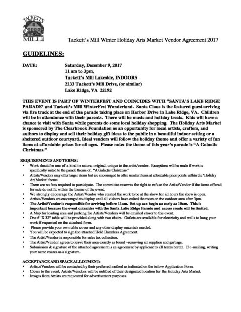 Holiday Arts Market  Vendor Agreement  TackettS Mill